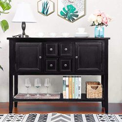 MIERES 1 Buffet Sideboard Console Table with Bottom Shelf (Espresso), Brown