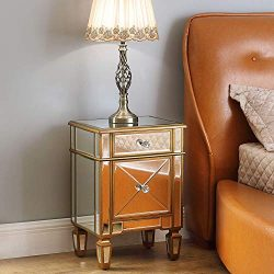 Mirrored Nightstand Bedside End Table, GA Home Storage Accent Chest 1 Drawer 1 Cabinet with Faux ...