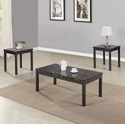 3 Piece Coffee End Table Set with Faux Marble Table Top and Metal Legs Accent Table Sets Living  ...