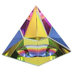 OwnMy Crystal Pyramid Iridescent Suncatchers Prism Rainbow Color with Gift Box (3.15 Inch Tall)