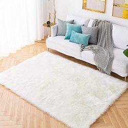 Carvapet Shaggy Soft Faux Sheepskin Fur Area Rugs Floor Mat Luxury Beside Carpet for Bedroom Liv ...