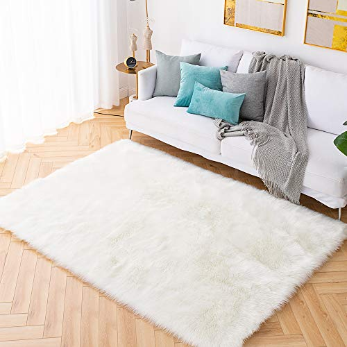 Carvapet Shaggy Soft Faux Sheepskin Fur Area Rugs Floor Mat Luxury Beside Carpet for Bedroom Liv ...