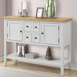 P PURLOVE Sofa Table Buffet Table Console Tables with Four Storage Drawers Two Cabinets and Bott ...