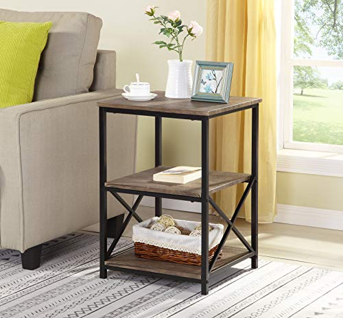 Reclaimed Weathered Brown Finish Metal X-Design Chair Side End Table with 3-Tier Shelf