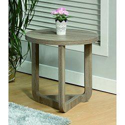 Benzara Modern Style Round, Gray End Table