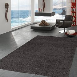 Ottomanson SHG2764-5X7 Collection shag Area Rug, 5'3″ x 7′, Charcoal Gray