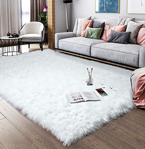 Noahas Faux Sheepskin Area Rugs Silky Long Wool Carpet for Living Room Bedroom, Children Play Do ...