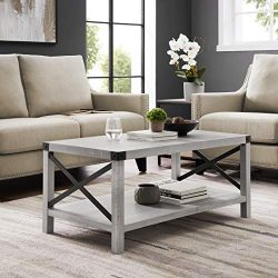 WE Furniture AZF40MXCTST Coffee Table 40″ Stone Grey