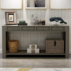 P PURLOVE Console Table for Entryway Hallway 64″ Long Sofa Table with Storage Drawers and  ...