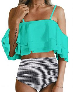 Tempt Me Women Two Piece Off Shoulder Ruffled Flounce Crop Bikini Top with Print Cut Out Bottoms ...