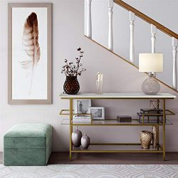 CosmoLiving Lennox Modern Design Console Table Faux Marble Top Warm Gold Frame and Tempered Glas ...