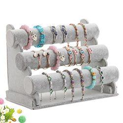 Wuligirl Triple Bracelet Holder Jewelry Display Stand Watch Bangle Bar Necklace Storage Organize ...