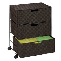 Honey-Can-Do OFC-03713 Double Woven 3-Drawer Chest Storage Organizer, Espresso Brown, 19.5L x 13 ...