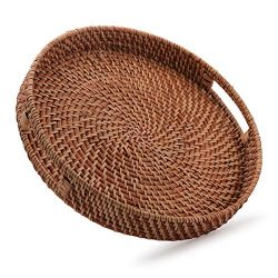 Round Rattan Woven Serving Tray with Handles for Breakfast, Drinks, Snack for Coffee Table, Home ...