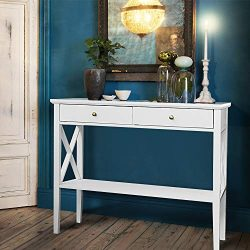 ChooChoo Console Sofa Table Classic X Design with 2 Drawers, Narrow Console Table for Entryway,  ...