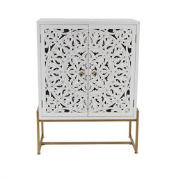 Deco 79 45845 Square Traditional Style Carved Wood White Cabinet on Metallic Gold Iron Stand, 31 ...