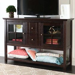 WE Furniture 52″ Console Table Wood TV Stand Console, Espresso