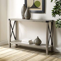WE Furniture AZF46MXETGW Entryway Table, 46″, Grey Wash