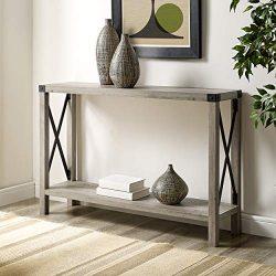 WE Furniture AZF46MXETGW Entryway Table, 46″, Grey Wash