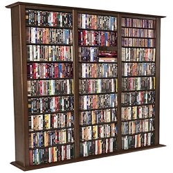 Venture Horizon Media Storage Tower-Tall Triple Walnut