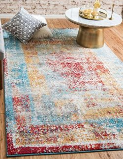 Unique Loom Rosso Collection Vintage Traditional Distressed Multi Area Rug (5′ x 8′)