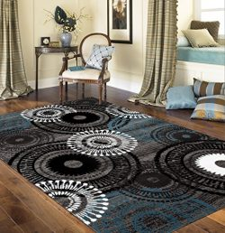 Rugshop Contemporary Circles Area Rug, 5′ 3″ x 7′ 3″, Blue/Gray