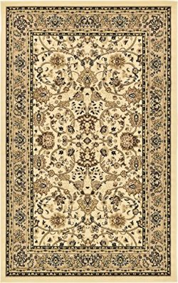 Unique Loom Kashan Collection Traditional Floral Overall Pattern with Border Ivory Area Rug (5&# ...