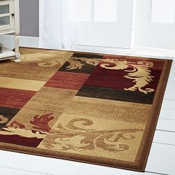 Home Dynamix Catalina Pierre Area Rug 5'3″x7'2″, Geometric Brown/Red/Beige