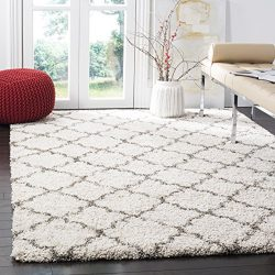 Safavieh Hudson Shag Collection SGH282A Ivory and Grey Moroccan Geometric Quatrefoil Square Area ...