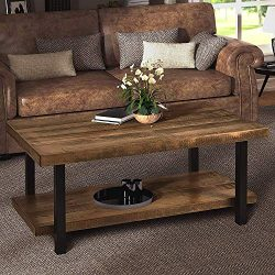Harper&Bright Designs Coffee Table Rustic Style Solid Wood+MDF and Iron Frame Rectangle Coff ...