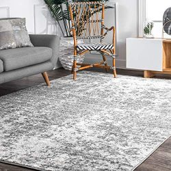 nuLOOM BDSM08A Power Loomed Deedra Area Rug, 5′ x 8′, Grey