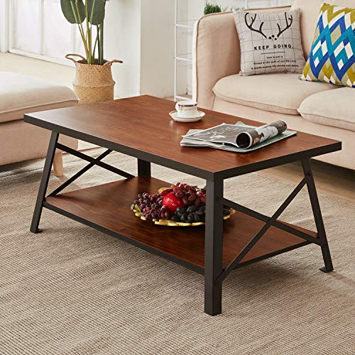 VECELO Vintage Coffee Table for Living Room,Rustic Cocktail Table with Storage Open Shelf, Black ...