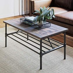 Nathan James 31301 Maxx Industrial Pipe Metal and Rustic Wood Coffee Table 41″, Gray/Black