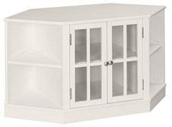 Ravenna Home Westly Corner Glass Storage TV Media Entertainment Cabinet Stand, 52″W, White