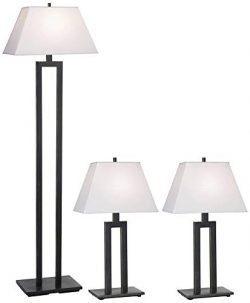 Modern Trio Table and Floor Lamps Set of 3 Bronze White Linen Rectangular Shade for Living Room  ...