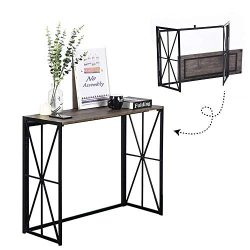 Folding-Console Table, No-Assembly Wood Entryway Hall Table,8 Seconds Finish Installation Indust ...
