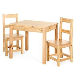 Best Choice Products 3-Piece Kids Toddlers Multipurpose Wooden Activity Table Furniture Set for  ...