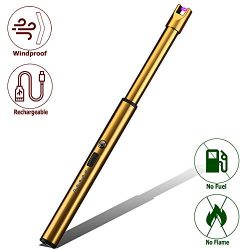 Elite Brands USA Plasma Arc Trendy Long Neck Rechargeable Windproof USB Lighter, Ideal for Gas S ...