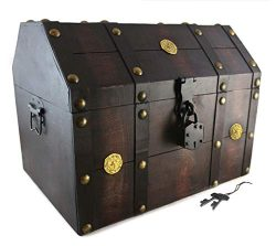 Well Pack Box Treasure Chest Pirate 16″x 12″x 12″ Lock Skeleton Keys Doubloon  ...