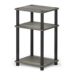 FURINNO 11087GYW/BK JUST Turn-N-Tube 3-Tier End Table, 1-Pack, French Oak Grey/Black