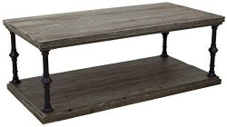 Ravenna Home Jessica Rustic Open Storage Coffee Table, 43.3″W, Grey Pine