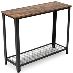 KingSo Industrial Sofa Table with Shelf, Vintage Rustic Console Side Table for Living Room Bedro ...