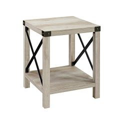 WE Furniture AZF18MXSTWO Side Table, 18″, White Oak