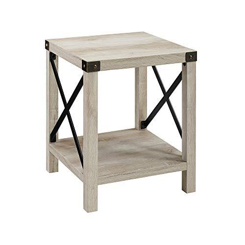 WE Furniture AZF18MXSTWO Side Table, 18″, White Oak