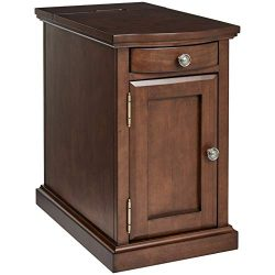 Ball & Cast Harriet Wood End Table with Drawer, Cabinet, and Built-in Power Strip, Executive ...