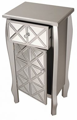 Heather Ann Creations Bombe Style Single Drawer Accent Cabinet/Console with Front Panel Mirrored ...