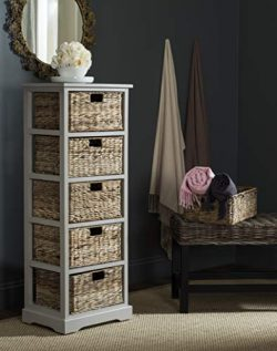 Safavieh American Homes Collection Vedette Vintage Grey 5 Wicker Basket Storage Tower
