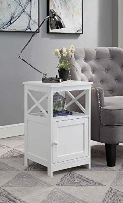 Convenience Concepts 203066W Oxford End Table with Cabinet, White