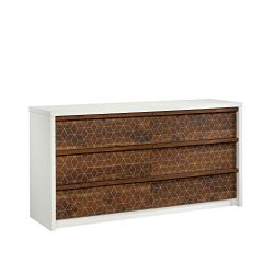 Sauder 424151 Harvey Park Dresser, Soft White Finish with Grand Walnut Accents