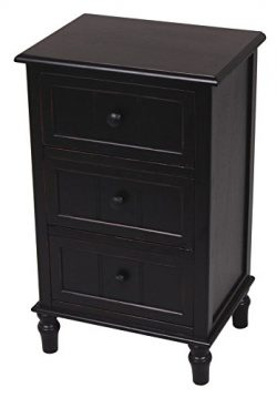 Décor Therapy Three Drawer Accent Table, Black